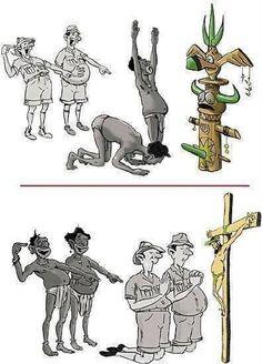 Y así se ríen de los pueblos originarios, cuando ellos creen es lo mismo xD sólo que con otro nombre!