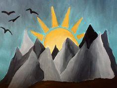 You are my sunshine on a rainy day...#sunshine #sun #mountains #painting #acrylic #birds #rain #rainy