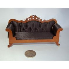"""Enchanting Miniatures and Gifts, Minature Dolls House Furniture - Miniature Furniture: Lincoln Sofa Upholstered In Black Satin Material In A Walnut Timber. (1.12th Scale) 1"""" - Fine Furnishings In Miniature"""