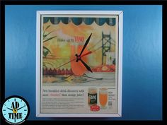 Items similar to Tang Clock, Vintage Mid Century Modern Advertisement, Handmade, Custom Order! on Etsy Vintage Ads, Vintage Kitchen, Mid-century Modern, 1950s, Creativity, Mid Century, Clock, Retro, Handmade