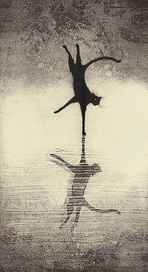 """Deja Vu""    - Fine art etching  - Cat - Larry Welo"