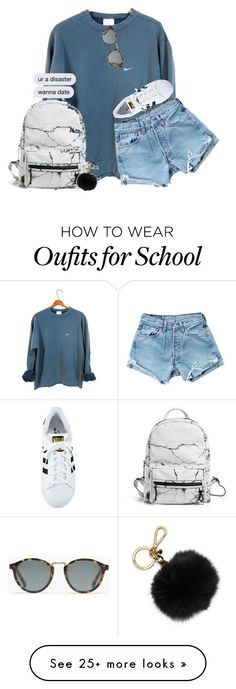 """2 cool 4 school"" by lfprep on Polyvore featuring NIKE, Levi's, Eddie Borgo, MICHAEL Michael Kors, Madewell and adidas"