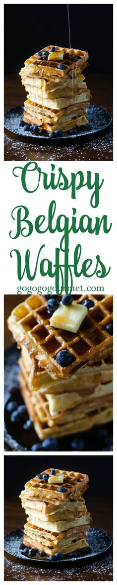 These waffles are crispy on the outside, soft and fluffy on the inside- and the perfect way to start your day! Crispy Belgian Waffles   Go Go Go Gourmet @gogogogourmet