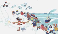 I love Rie Munoz. Her prints are amazingly whimsical and beautiful. She is an Alaskan artist. http://www.riemunoz.com