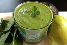 Spring Clean Green Smoothie  Ingredients:  1 bunch fresh mint  2 handfuls spinach  1/2 avocado  1/2 banana  1 small pear  2 Tbsp. cacao nibs  2 Tbsp. chia seeds  4 oz (120 mL) coconut water  4 oz (120 mL) unsweetened almond milk  2 handfuls ice