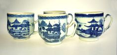 Antique Stoneware Blue Willow Cup Set of 4 by WeStartedWithAMouse