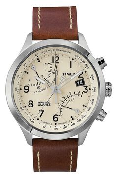 Timeless, Easy-to-Wear Watches with Brown Leather Bands Timex® 'Intelligent Quartz' Fly-Back Chronograph Watch Amazing Watches, Beautiful Watches, Cool Watches, Watches For Men, Stylish Watches, Casual Watches, Gq, Esquire, Wear Watch