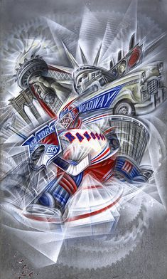 RANGERsäve = aerosol enamel +airbrushed acrylic + toner + staples + particle board + other found paper + store bought frame + screws + screweyes + glass + wire = hockey in the big apple = sold