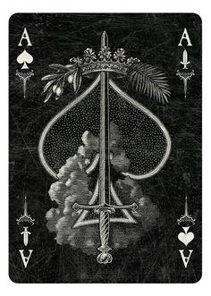 Aceof Spades, Arcana Playing Cards by Chris Ovdiyenko - -Kickstarter. Playing cards inspired by the Tarot. Arcana is a new deck of custom hand-drawn playing cards printed by USPCC. Ace of Spades/Swords dark Ace Of Spades Tattoo, Spade Tattoo, Arte Dope, Ace Of Swords, Ace Card, Playing Cards Art, Totenkopf Tattoos, Joker Card, Card Tattoo