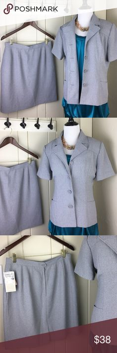 Gray short sleeve blazer dress suit with skirt Brand new with tags. The skirt is a size 14 and the blazer (shoulder pads included but easily removable) is a size 12. Super nice. Brand new suit great for interviews or a professional office. Dress Barn Jackets & Coats Blazers