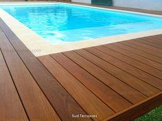 Niveau des Lames de bois sur Margelle pour tour de piscine en bois exotiques de CUMARU.  http://sudterrasses.com/  Tél. : 06 51 51 84 02