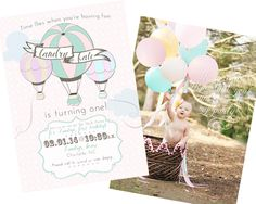 "Hot Air Balloon Birthday Party Invitation - we love the ""Time Flies"" tie-in! #firstbirthday #invitation"