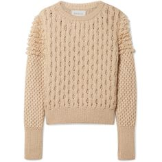 ELEVEN SIX Mila cable-knit sweater (8.245.620 IDR) ❤ liked on Polyvore featuring tops, sweaters, beige, chunky cable sweater, chunky cable knit sweater, beige cable knit sweater, cable-knit sweater and beige top