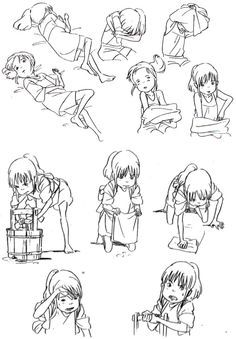 Spirited Away Character pose sheet. Good reference for