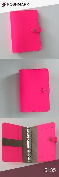 PERSONAL FLUORO PINK LEATHER FILOFAX The Original Organizer Personal Fluoro Pink Leather Filofax. Made in England, crafted from thick leather. *Color is more vibrant in person.This agenda planner can also be used as a wallet,notebook,diary or journal.Condition:NWT,never used. It's been carefully stored in original packaging which is considered the 'tag'. Sold as is.Does not include inserts or accessories.Final Sale. ❌NO TRADES/OffsiteTransactions ✅Price Negotiations handled strictly thru…