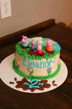 Muddy puddles Peppa Pig Cupcakes, Cupcake Cakes, Fiestas Peppa Pig, Peppa Pig Birthday Cake, Ballerina Cakes, Pig Party, Birthday Ideas, 4th Birthday, Just Cakes