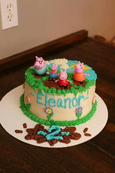 Muddy puddles Peppa Pig Fiestas Peppa Pig, Cumple Peppa Pig, Cupcakes, Cupcake Cakes, Peppa Pig Birthday Cake, Peppa Pig Cakes, Ballerina Cakes, Pig Party, Birthday Ideas