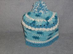 Cotton Crochet Blue Blue Blue Childs Hat by craftheart on Etsy, $10.00