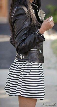 Leather jacket striped dress