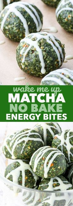 Matcha No Bake Energy Bites {gluten dairy egg peanut soy & refined sugar free vegan paleo} - These matcha no bake energy bites make the perfect morning snack as well as a pre workout or post workout treat. The matcha powder gives a gentle caffeine Protein Snacks, Vegan Snacks, Healthy Treats, Carbs Protein, Vegan Desserts, Baking Desserts, Healthy Protein, Protein Bars, Healthy Weight