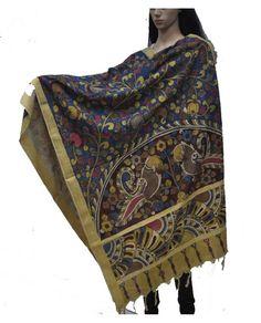 Hand Painted Kalamkari Blue Cotton Dupatta, Kalamkari Dupatta , Hand-painted dupatta, Indian dupatta, handloom dupatta