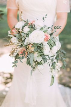 wedding bouqet inspired by peach   green hues - brides of adelaide