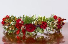 Holiday Flower Crown - Christmas Halo - Flowergirl hairpiece - Winter Wedding - Newborn Photo Prop - Wedding Crown - Floral Hairpiece by LittleLadyAccessory on Etsy