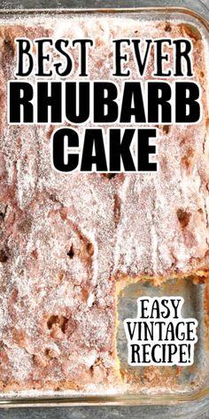 Baking Recipes, Cookie Recipes, Dessert Recipes, Easy Cake Recipes, Healthy Recipes, Easy Desserts, Delicious Desserts, Yummy Food, Rhubarb Cake