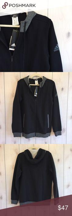 🆕Men's Sweat Jacket Black men's hooded sweat jacket. Hood features a color block in charcoal. Fleece lined. BNWT. adidas Jackets & Coats Performance Jackets