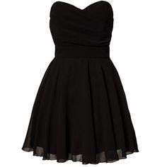 Tfnc Minie Dress ($54) ❤ liked on Polyvore featuring dresses, vestidos, short dresses, robes, black, party dresses, womens-fashion, skater skirt, black pleated dress y pleated mini dress