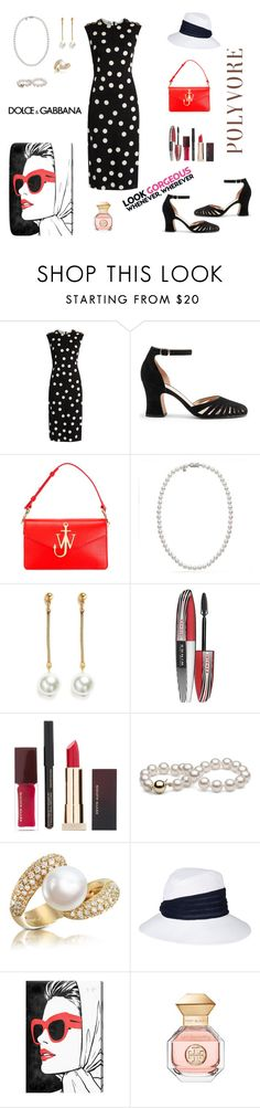 """""""Polka Dots"""" by rboowybe ❤ liked on Polyvore featuring J.W. Anderson, Mikimoto, Kenneth Jay Lane, L'Oréal Paris, Kevyn Aucoin, Forzieri, Eugenia Kim, Oliver Gal Artist Co., Dolce&Gabbana and Tory Burch"""