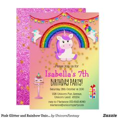 Shop Pink Glitter and Rainbow Unicorn Birthday Invitation created by UnicornFantasy. Unicorn Birthday Invitations, Unicorn Birthday Parties, 7th Birthday, Rainbow Bunting, Rainbow Unicorn Party, Unicorn Crafts, Pink Glitter, Unicorns, Unicorn