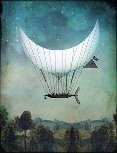 crescent moon hot air balloon art