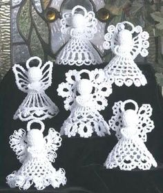 Pattern Crochet Angels Six Designs Christmas Tree Decorations Crochet Angel Pattern, Crochet Angels, Crochet Motifs, Thread Crochet, Crochet Crafts, Crochet Projects, Free Crochet, Crochet Lace, Crochet Stitch