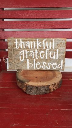 Thankful Grateful Blessed barn wood sign by BrittandTyler