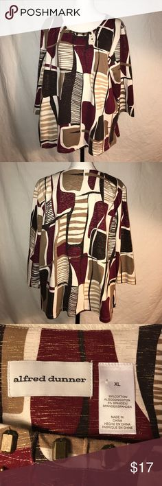 Alfred Dunner Top, Size XL This top is brand new without tags. It is a cotton/ Spandex Blend. Great top to go with dress pants or jeans. Pit to pit is 24 Length is 26 1/2 Alfred Dunner Tops Blouses
