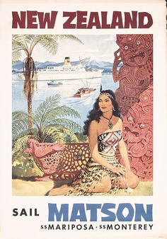 Original Vintage Posters -> Travel Posters -> New Zealand Matson Maori - AntikBar Posters Australia, Travel Ads, Cruise Travel, Travel Photos, Tourism Poster, Station Balnéaire, Kiwiana, New Zealand Travel, Mexico Travel