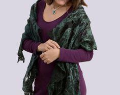 Dark Green Shadows wool/ silk scarv, hand felted - Edit Listing - Etsy