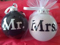 Mr. & Mrs. Glittered Ornaments Wedding Bride and Groom Set with Date Vail Tux Ribbon Tulle.