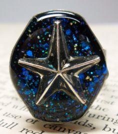 Blue Star Glitter Steampunk Resin Ring  Watch Case by wiggelhevin, $22.50