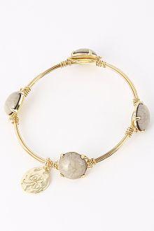 Stone Charm Attached Bangle Bracelet