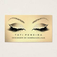 Makeup Eyebrows Lashes Glitter Diamond Gold Glam1 Business Card