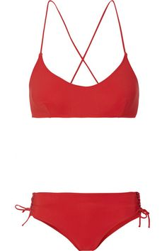 Red stretch-polyamide Top ties at back, briefs tie at sides 72% polyamide, 28% elastane Hand wash Lotion, sunscreen, oil and chlorine can cause discoloration of this item; this is not a manufacturing defect. Please follow care instructions to keep your swimwear in the best conditionSmall to size. See Size & Fit notes.