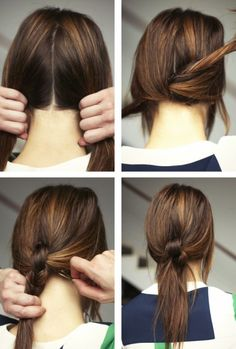 This super casual knotted ponytail is a cool way to dress up your locks