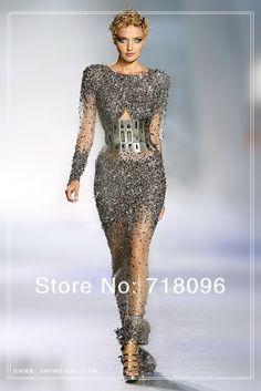 zuhair murad 2013 gris de mode haute couture gaine tulle long pleine manches main perles robe de soire robe de bal