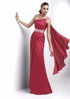 Vestido de fiesta largo en color rojo corte imperio