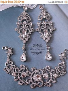 Handcrafted, Artisan Jewelry New Wedding Necklace Set Using Swarovski White Pearl & Lite Blue 1 Strand #3