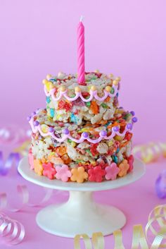 Fruity Pebbles Treats (Cake) - would make a cute lunchbox or after-school treat.