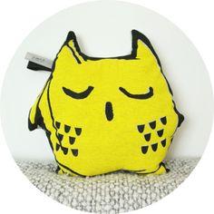 Coussin Hibou jaune / Yellow owl pillow