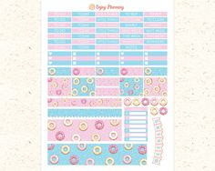 Donuts Printable Planner Stickers Headers planner Stickers Weekly planner Stickers Donut stickers Erin Condren Washi planner sticker headers by EnjoyPlanning on Etsy
